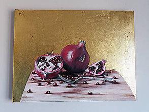 Obrazy - Olejomaľba Granátové jablká v zlate - 10454518_