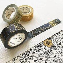 Papier - luxusná ozdobná papierová páska Tisíc a jedna noc I (tmavomodrá) - 10453789_