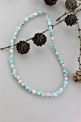 Náhrdelníky - larimar a perly náhrdelník SUPERAKCIA! - 10456039_