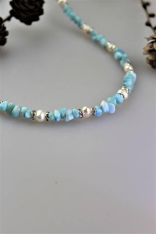 larimar a perly náhrdelník SUPERAKCIA!