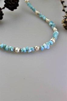 Náhrdelníky - larimar a perly náhrdelník SUPERAKCIA! - 10456032_