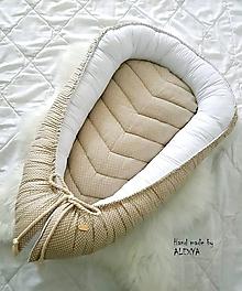 Textil - Hniezdo pre bábätko bodky na béžovej - 10453853_