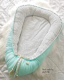 Textil - Hniezdo pre bábätko z vafle bavny v mint farbe - 10453970_