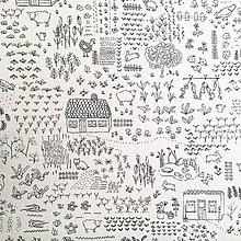 Textil - pevné režné plátno aj na domaľovanie Záhradka, šírka 140 cm - 10452497_
