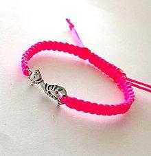 Náramky - S mačičkou (ružová neon) - 10456250_