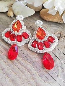 Náušnice - Swarovski red siam a crystal rivoli - 10456380_