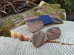 Doplnky - Pánsky drevený motýlik a manžetové gombíky - 10453003_