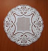 Úžitkový textil - Richelieu + toledo - Kvety a listy, biela, priemer 60 cm - 10453183_