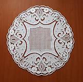 Úžitkový textil - Richelieu + toledo - Kvety a listy, biela, priemer 60 cm - 10453184_