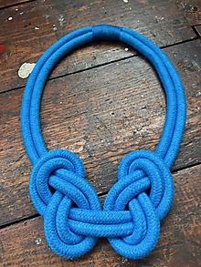 Náhrdelníky - UZLY - modré - 10456217_