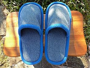 Obuv - Modré papuče s modrým lemom - 10454894_