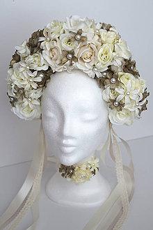 Ozdoby do vlasov - Kvetinová parta ,,Biela,, - 10452659_