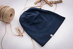 Čiapky - Dvojvrstvová čiapka modrá - deti aj dospelák (detská (40cm)) - 10452263_