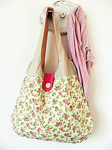 Veľké tašky - Letná kabelka Cyklaménové ružičky - 10452908_