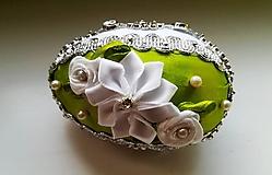 Dekorácie - Zelenobiela kraslica - 10455440_