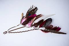 Ozdoby do vlasov - Ružový bohémsky festival hair clip - 10453955_