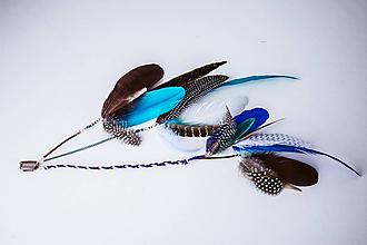 Ozdoby do vlasov - Modrý bohémsky festival hair clip - 10453958_