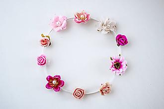 Ozdoby do vlasov - Ružová elastická čelenka s kvetinami - 10456299_