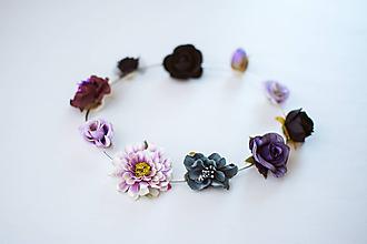 Ozdoby do vlasov - Fialová elastická čelenka s kvetinami - 10456304_