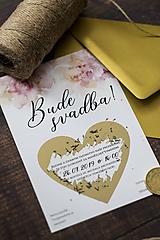 Papiernictvo - Svadobné oznámenie - Zlaté srdiečko ❤ - 10454339_
