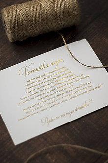 """Papiernictvo - """"Pôjdeš mi za družičku?"""" - Zlatá pozvánka pre družičku s obálkou - 10454435_"""