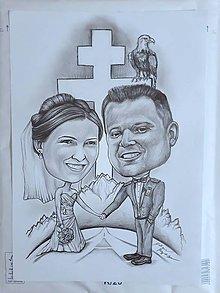 Kresby - Svadba- karikatúra - 10455890_