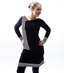 Šaty - Černobílé pruhatky... - 10453804_