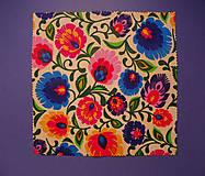 Úžitkový textil - Voskovaný obrúsok - Kvety folkové - 10455410_