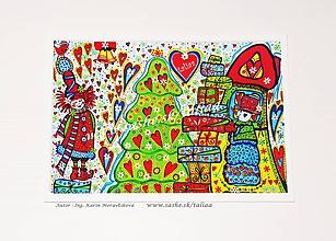 Kresby - VIANOČNÝ STROMČEK ♥ maľovaný obrázok 21 x 14,5 cm - 10452287_