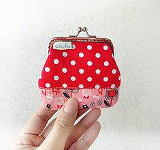 Peňaženky - Peňaženka mini Červená s bodkami a kvietkami - 10452530_