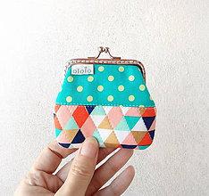 Peňaženky - Peňaženka mini Farebné trojuholníky - 10452534_