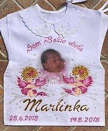 Detské doplnky - Košielka na krst maľovaná  s fotom - 10456082_