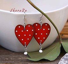 Náušnice - Heart dots // Red - 10454999_