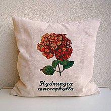 Úžitkový textil - Ľanová obliečka na vankúš Hortenzia kalinolistá/Hydrangea macrophylla (oranžová) - 10454898_