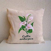 Úžitkový textil - Ľanová obliečka na vankúš Kornútovka africká/Calla aethiopica - 10454927_