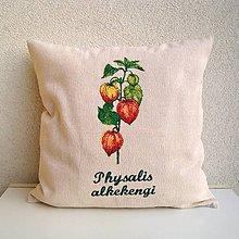 Úžitkový textil - Ľanová obliečka na vankúš Machovka čerešňová/Physalis alkekengi - 10455105_