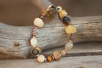 Náramky - Boho náramok z mixu minerálov - citrín, jaspis, mesačný kameň... - 10452932_