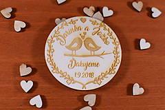 Drevená svadobná magnetka ako vyslužka hosťom  163