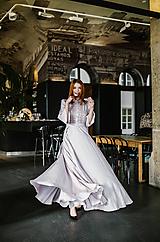 Šaty - Maxi staroružové košeľové šaty s čipkou - 10456016_