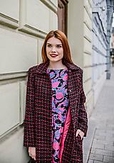 Kabáty - Čierno-magentový kabátik z buklé - 10456119_