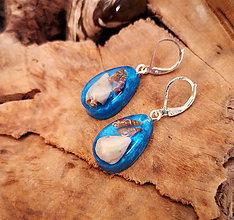 Náušnice - Živicové náušnice s mušľami, modré - 10454711_