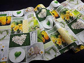 Úžitkový textil - Jarná kolekcia - kvety v záhrade (136×40 cn) - 10458289_