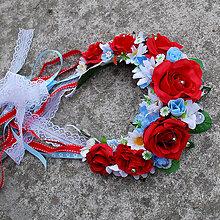 Ozdoby do vlasov - Svadobná parta z červených ruží s margarétkami a nezábudkami - 10458563_
