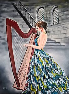 Obrazy - Žena s harfou - 10456580_