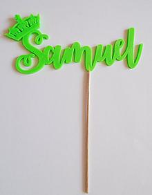 Dekorácie - 3D meno s korunkou na tortu (Zelená) - 10458828_