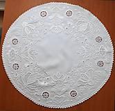 Úžitkový textil - Richellieu , Vtáčiky a kvety, biela, priemer 78 cm - 10457007_