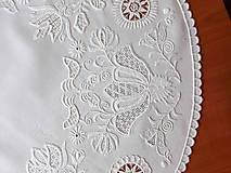 Úžitkový textil - Richellieu , Vtáčiky a kvety, biela, priemer 78 cm - 10457015_
