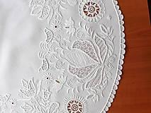 Úžitkový textil - Richellieu , Vtáčiky a kvety, biela, priemer 78 cm - 10457017_