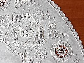 Úžitkový textil - Richellieu , Vtáčiky a kvety, biela, priemer 78 cm - 10457008_