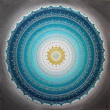 Obrazy - Mandala KOMUNIKÁCIA (smaragd - sivá - žltá) 80 x 80 - 10458641_